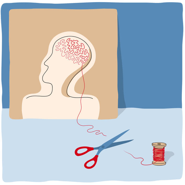 A Cartoon Of Thread Being Cut By Scissors, A Spool Of Thread At One End, A Pile Of Tangled Thread At The Other End That Form What Looks Like A Brain Inside A Human Head