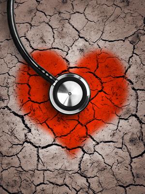 Heart In Desert Land And Stethoscope